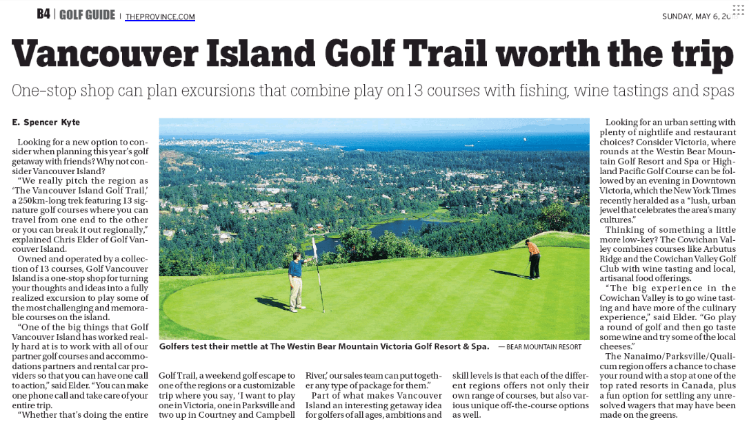 Vancouver Island Golf Trail worth the trip
