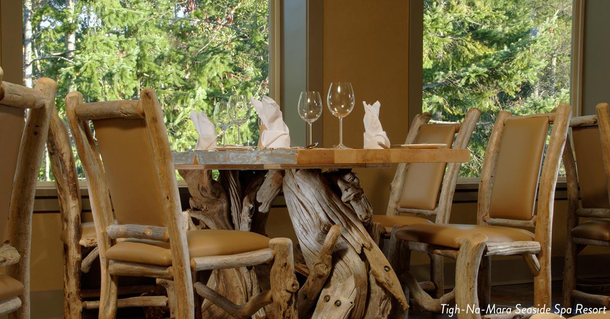 Elegant table seating at Tigh-Na-Mara Seaside Spa Resort.